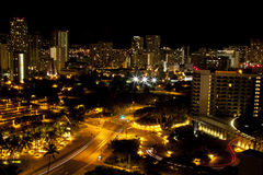 Honolulu skyline night HDR. High dynamic range photo of the downtown skyline of Honolulu at night royalty free stock photo