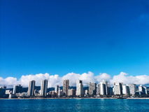 Honolulu Skyline. From the ocean Stock Photos