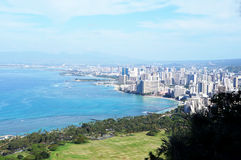 Honolulu Skyline -- seen from Diamond Crater Mountain Royalty Free Stock Image