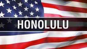 Honolulu stad på en USA flaggabakgrund, tolkning 3D USA flagga som vinkar i vinden Stolt vinka för amerikanska flaggan stock illustrationer
