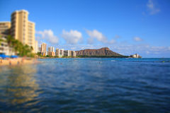 Honolulu Tilt Shift. A tilt shift view of Honululu and Diamond Head royalty free stock photo