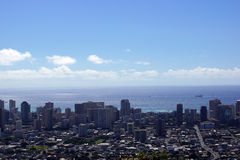 Honolulu Townscape and Pacific Ocean Stock Photo