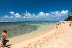 HONOLULU, USA - AUGUST, 14 2014 - People having fun at hawaii beach Stock Image