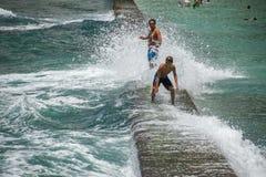 HONOLULU, USA - People having fun at waikiki beach Royalty Free Stock Images