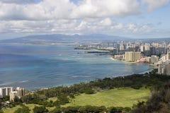 Honolulu & Waikiki. Overlooking Honolulu and Waikiki from the top of Diamond Head volcano Royalty Free Stock Photos