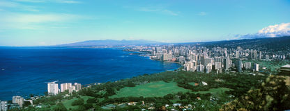 Honolulu, Waikiki Beach from Diamond Head. Looking down on Honolulu and Waikiki Beach from the top of Diamond Head Stock Photo