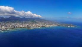 Honolulu y Diamond Head Aerial View Fotos de archivo libres de regalías