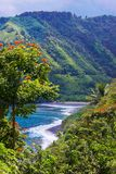Honomanu Beach Road to Hana Maui stock photography