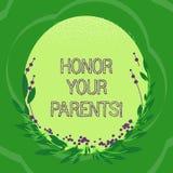 Honor del texto de la escritura sus padres Estima del alto respecto del significado del concepto gran para su forma mayor del óva libre illustration