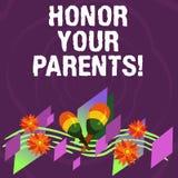 Honor del texto de la escritura sus padres Estima del alto respecto del significado del concepto gran para su instrumento colorid libre illustration