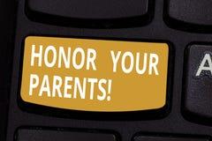 Honor del texto de la escritura sus padres Estima del alto respecto del significado del concepto gran para su llave de teclado ma stock de ilustración
