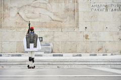 Honor Evzones guard in front of  the Tomb of the Unknown Soldier Royalty Free Stock Images