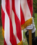 Honor and Flag. Military Honor Guard holding the staff of the American Flag at a Memoral Day ceremony Royalty Free Stock Images