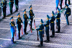 """The Honor Guard and the Band of the Presidential Regiment """"Aibyn"""" of Republic of Kazakhstan at the Red Square. MOSCOW, RUSSIA - AUGUST 26, 2016: Spasskaya Royalty Free Stock Images"""