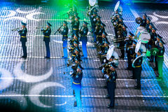 """The Honor Guard and the Band of the Presidential Regiment """"Aibyn"""" of Republic of Kazakhstan at the Red Square. MOSCOW, RUSSIA - AUGUST 26, 2016: Spasskaya Royalty Free Stock Image"""