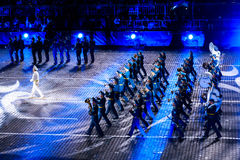"""The Honor Guard and the Band of the Presidential Regiment """"Aibyn"""" of Republic of Kazakhstan at the Red Square. MOSCOW, RUSSIA - AUGUST 26, 2016: Spasskaya Royalty Free Stock Photography"""