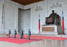 Honor Guard in Chiang Kai-shek Memorial Hall Stock Photo