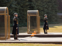 An honor guard at the Eternal Flame Royalty Free Stock Photo