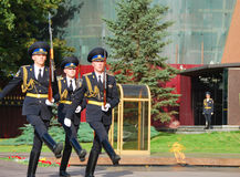 The honor guard at the Eternal flame. Moscow. Change of guard of honor at the Eternal flame at the tomb of the Unknown soldier in Moscow Royalty Free Stock Photo