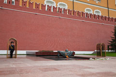 Honor guard at the eternal flame at the Red Square Royalty Free Stock Photo