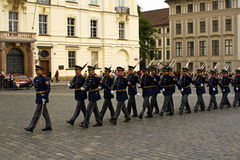 Honor guard in full dress. Parade in front of the presidential Palace, Prague, Czech Republic Stock Photos