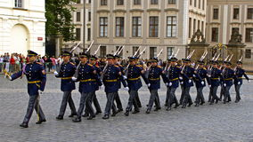 Honor guard in full dress. Parade in front of the presidential Palace, Prague, Czech Republic Royalty Free Stock Photo