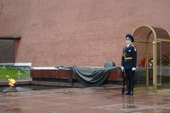 Honor guard at the grave of an unknown soldier in the Alexander Garden. Post number 1. Stock Photo