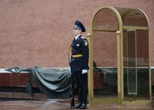 Honor guard at the grave of an unknown soldier in the Alexander Garden. Post number 1. Royalty Free Stock Image