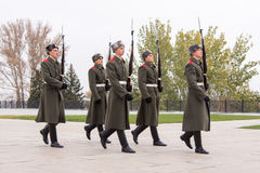 Honor Guard marches on the area of grief at the Hall of Military Glory, historical-memorial complex Royalty Free Stock Photography