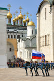 Honor Guard Marching with Kremlin Step on Cathedral Square Royalty Free Stock Photography