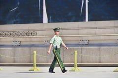 Honor guard marching at Tiananmen Square, Beijing, China Royalty Free Stock Photo