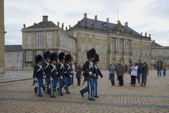 Honor guard National Guard marching on the square near the Amalienborg Palace. Copenhagen Royalty Free Stock Photo