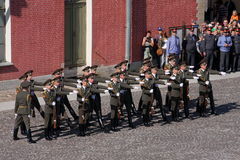The honor guard platoon of the peter and paul fortress (city museum) in the paved courtyard of the fortress Royalty Free Stock Photos