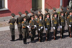The honor guard platoon of the peter and paul fortress (city museum) in the paved courtyard of the fortress Royalty Free Stock Image