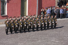The honor guard platoon of the peter and paul fortress (city museum) in the paved courtyard of the fortress Royalty Free Stock Photography