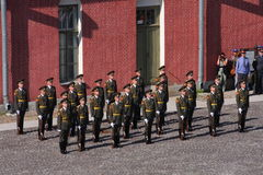 The honor guard platoon of the peter and paul fortress (city museum) in the paved courtyard of the fortress Stock Image