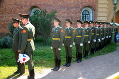 The honor guard platoon of the peter and paul fortress (city museum) in the paved courtyard of the fortress Stock Images