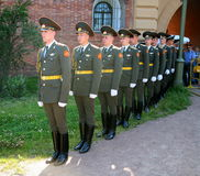 The honor guard platoon of the peter and paul fortress (city museum) in the paved courtyard of the fortress Royalty Free Stock Images