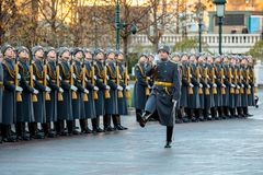The Honor Guard of the 154 Preobrazhensky Regiment in the infantry uniform at the solemn event. MOSCOW, RUSSIA - NOVEMBER 08, 2017: The Honor Guard of the 154 Stock Images