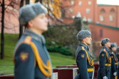 The Honor Guard of the 154 Preobrazhensky Regiment in the infantry uniform at the solemn event. MOSCOW, RUSSIA - NOVEMBER 08, 2017: The Honor Guard of the 154 Royalty Free Stock Photo