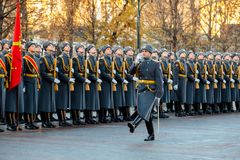 The Honor Guard of the 154 Preobrazhensky Regiment in the infantry uniform at the solemn event. MOSCOW, RUSSIA - NOVEMBER 08, 2017: The Honor Guard of the 154 Stock Photos