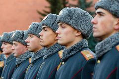 The Honor Guard of the 154 Preobrazhensky Regiment in the infantry uniform at the solemn event. MOSCOW, RUSSIA - NOVEMBER 08, 2017: The Honor Guard of the 154 Royalty Free Stock Photos
