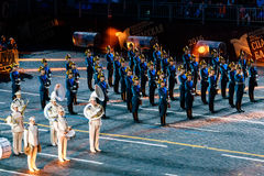 The Honor Guard of the Presidential Regiment and the President's band at the Red Square. MOSCOW, RUSSIA - AUGUST 26, 2016: Spasskaya Tower international military Royalty Free Stock Photo