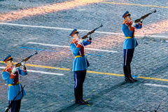 The Honor Guard of the Presidential Regiment at the Red Square. MOSCOW, RUSSIA - AUGUST 26, 2016: Spasskaya Tower internationa military music festival. The Honor Royalty Free Stock Image