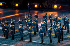 The Honor Guard of the Presidential Regiment at the Red Square. MOSCOW, RUSSIA - AUGUST 26, 2016: Spasskaya Tower international military music festival. The Stock Images
