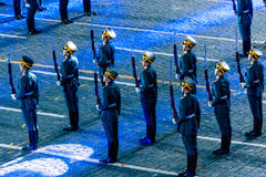 The Honor Guard of the Russian Presidential Regiment at the Red Square. MOSCOW, RUSSIA - AUGUST 26, 2016: Spasskaya Tower international military music festival Stock Photos