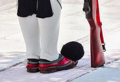 Honor guard. Shoes Honor guard in Greece Royalty Free Stock Photo