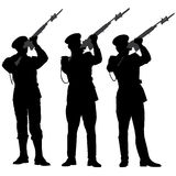 Honor Guard Silhouette. Fire a volley in remembrance on white background Stock Images