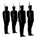 Honor Guard Silhouette. On white background Royalty Free Stock Images