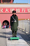 Honor guard soldier before Entrance of Gate of Heavenly Peace, Forbidden city in Beijing. Royalty Free Stock Photo
